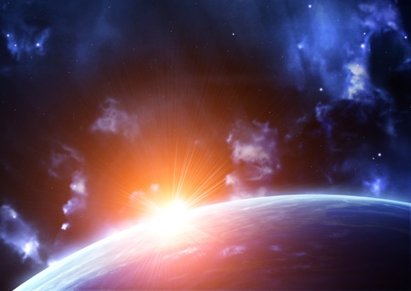 lighting effect: Space flare. A beautiful space scene with planet and nebula