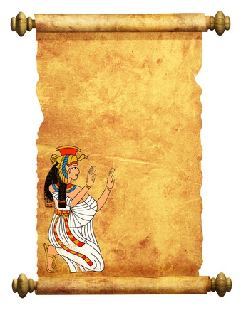 Scroll with Egyptian goddess Isis image. Isolated over white photo