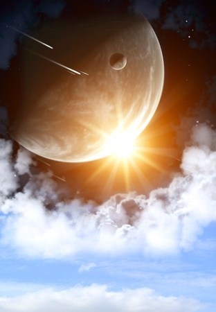 Space flare. A beautiful space scene with planets and nebula Stock Photo - 9416834