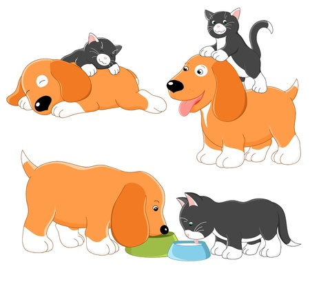 siesta: Kitty and puppy. Vector collection