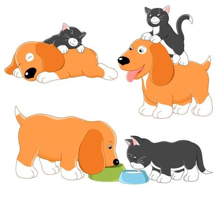 siesta: Kitty e cucciolo. Insieme vettoriale