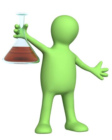 reagents: Puppet with chemical reagent. Isolated over white
