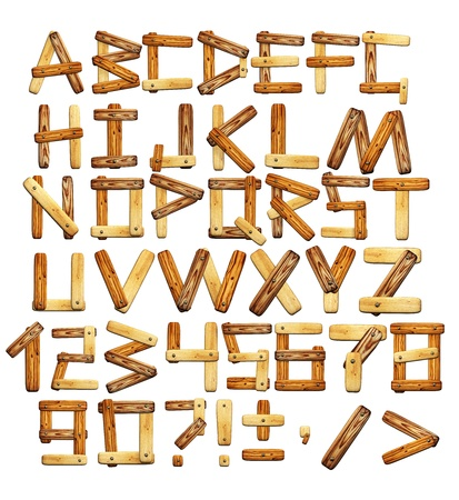 old letters: Alphabet - letters from wooden boards. Isolated over white