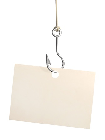 baits: Empty sheet of a paper, hanging on a fishing hook. Isolated over white Stock Photo