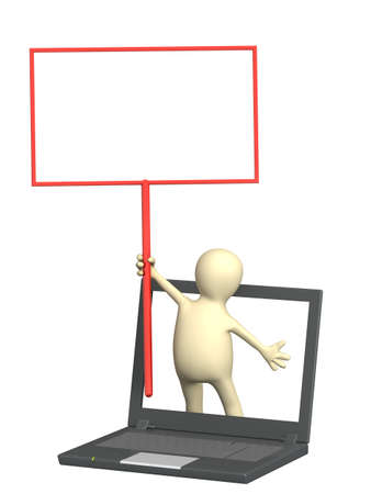 3d puppet with information board and laptop. Isolated over white Stock Photo - 9468493