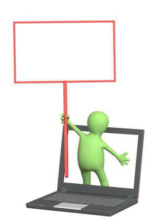 3d puppet with information board and laptop. Isolated over white Stock Photo - 9468494