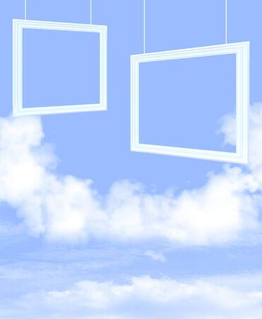 White clouds and picture frames in the blue sky photo