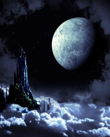 alien landscape: Notte da favola. Panorama di fantasia con il castello