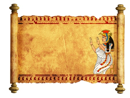 egyptian mummy: Scroll with Egyptian goddess Isis image. Isolated over white