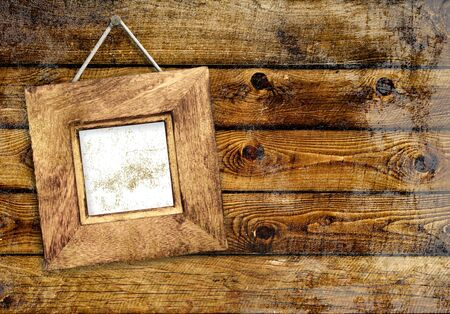 Retro wooden frame on wall - collage photo