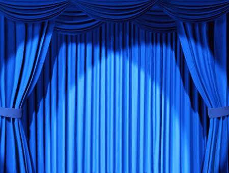sipario chiuso: Sipario teatrale di colore blu - 3d Archivio Fotografico