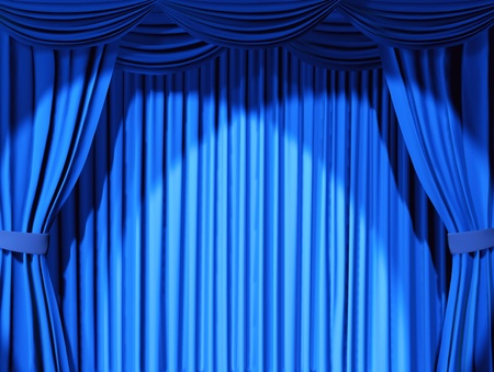 classical theater: Theatrical curtain of blue color - 3d Stock Photo