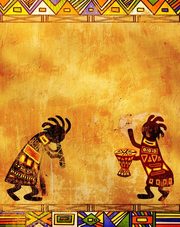 djembe: Dancing musicians. African traditional patterns