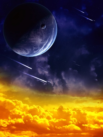 A beautiful space scene with planet and nebula Stock Photo - 9521778