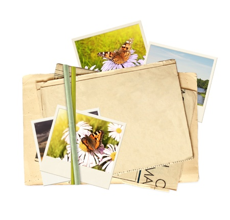 Frame with old paper and photos. Objects isolated over white Stock Photo - 9521756
