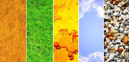 Nature banners - texture leaf, pebble, sand, grass and sky photo