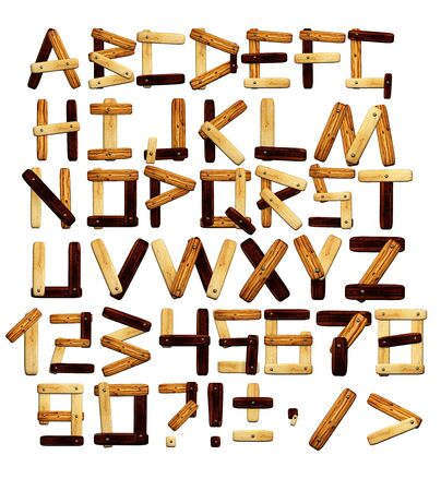 old english letters: Alphabet - letters from wooden boards. Isolated over white