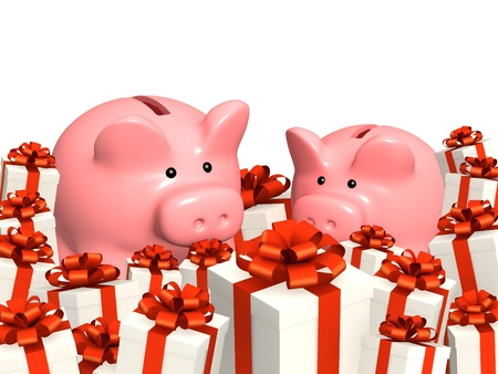 christmas savings: Piggy bank and gifts. Isolated over white