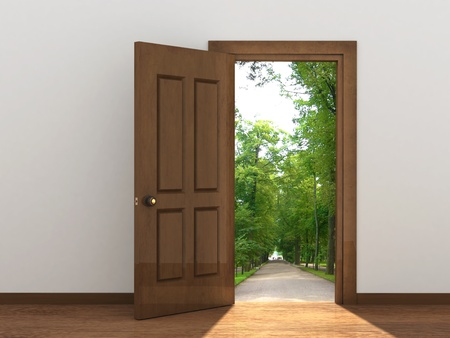 opening door: Conceptual image - a way to freedom
