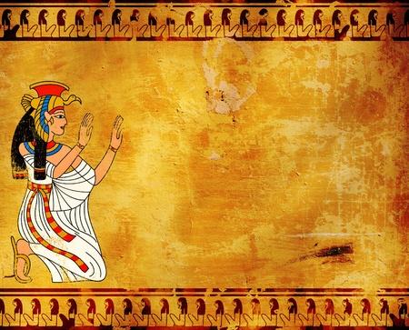 egyptian gods: Wall with Egyptian goddess image - Isis Stock Photo