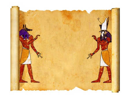 Scroll with Egyptian gods images - Anubis and Horus. Object isolated over white photo