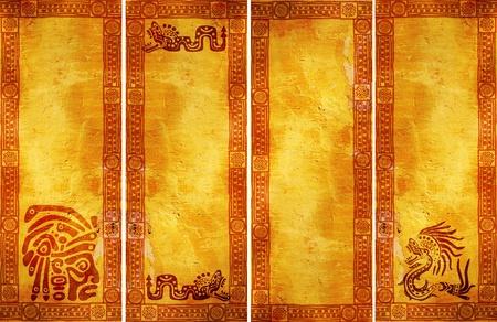 cultura maya: Banners verticales con los patrones tradicionales de indios americanos