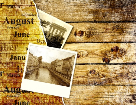 diary page: Grunge background with old photo and wood texture