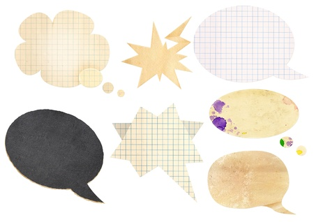 Collection of comic speech bubbles with paper texture photo