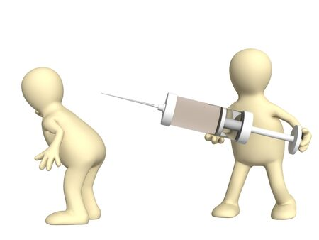 injecting: Doctor with a syringe and patient. Isolated over white