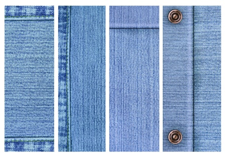 Collection of five jeans banners. Isolated over white photo
