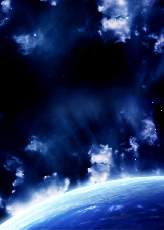 A beautiful space scene with planet and nebula Stock Photo - 9589384