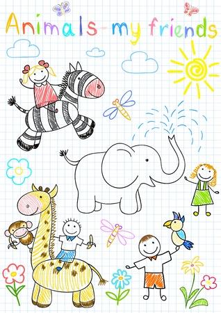 Vector dibujos de animales y la infancia feliz. Esbozo en la página del Bloc de notas