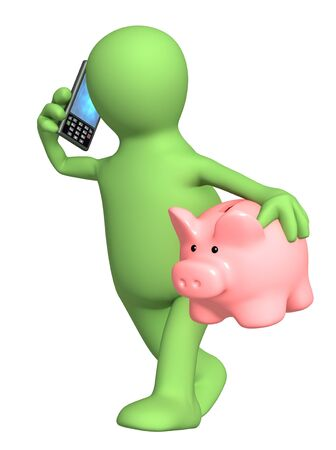 saving accounts: 3d puppet with phone and piggy bank. Isolated over white Stock Photo