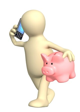 3d puppet with phone and piggy bank. Isolated over white Stock Photo - 9661273