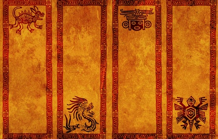 indian mask: Vertical banners with American Indian traditional patterns Stock Photo
