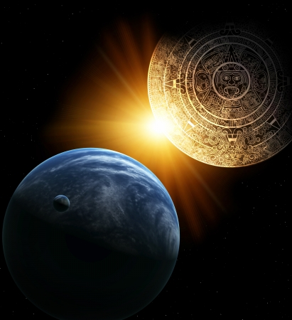 mayan prophecy: Vertical background with Maya calendar and Earth Stock Photo
