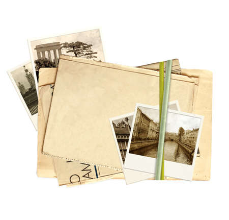 Frame with old paper and photos. Objects isolated over white Stock Photo - 9741250