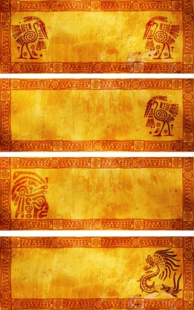 Horizontal banners with American Indian traditional patterns photo