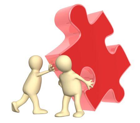marioneta: Éxito del trabajo en equipo. Dos marionetas con rompecabezas. Aislado en blanco