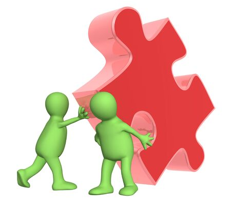 Success of teamwork. Two puppets with puzzle. Isolated over white photo