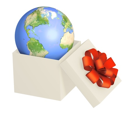 Earth in opened gift. Objects isolated over white Stock Photo - 9744237