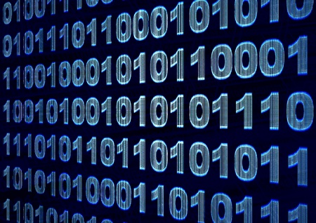 Internet concept - screen with binary code Stock Photo - 9744936