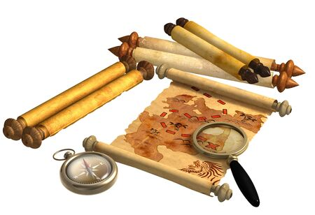 A way to treasure. Pirate map, scrolls, compass and loupe. Objects isolated over white photo