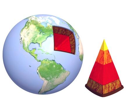 erde gelb: Struktur der Erde. Modell isolated over white
