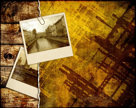 Grunge background with old photos photo