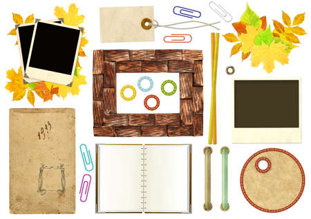 Collection elements for scrapbooking. Objects isolated over white photo