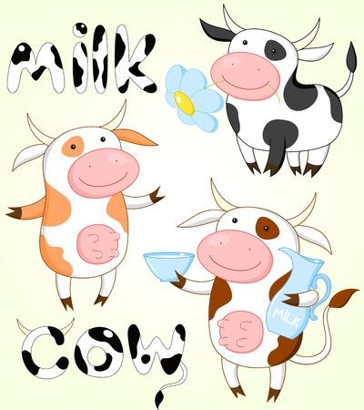 vacas lecheras: Colecci�n de vectores de tres vacas divertidas