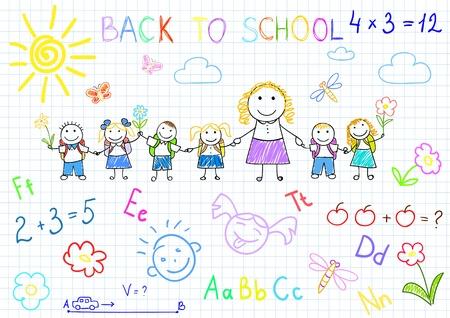educativo: Regreso a la escuela. Bocetos de vector felices alumnos y profesores. Sketch en la página del Bloc de notas