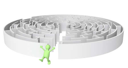 Creative decision of a problem. Happy puppet running out of the maze photo