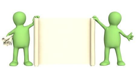 marionetta: Due pupazzi con informazioni scorrere in una mano. Isolato over white